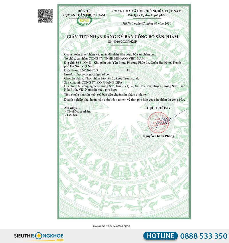 giấy chứng nhận viên uống trumiso