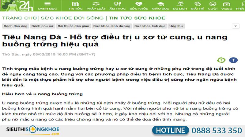 hình ảnh báo 24h đưa tin về tiêu nang đà