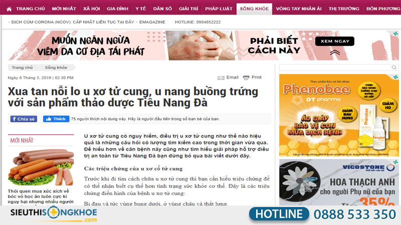 báo gia đình đưa tin về tiêu nang đà
