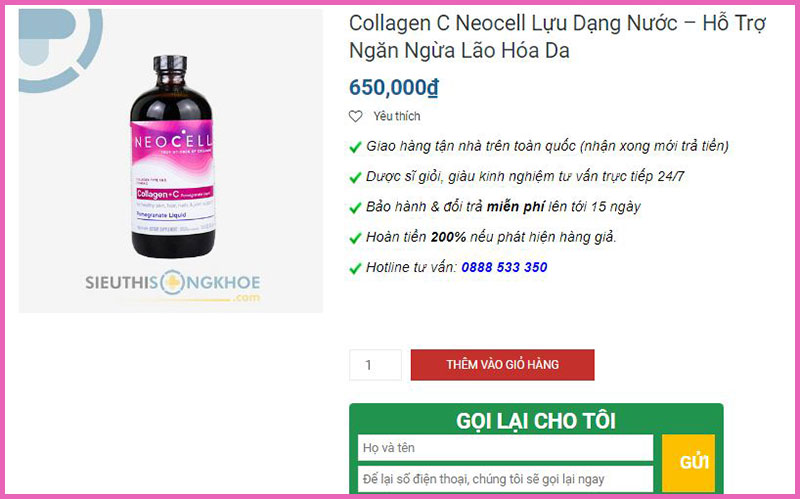 neocell collagen +c dang nuoc sieu thi song khoe