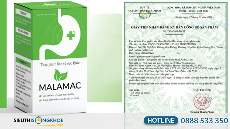 giấy chứng nhận dạ dày malamac