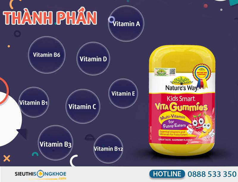thanh phan keo bo sung vitamin cho tre vita gummies multi - vitamin for fussy eaters