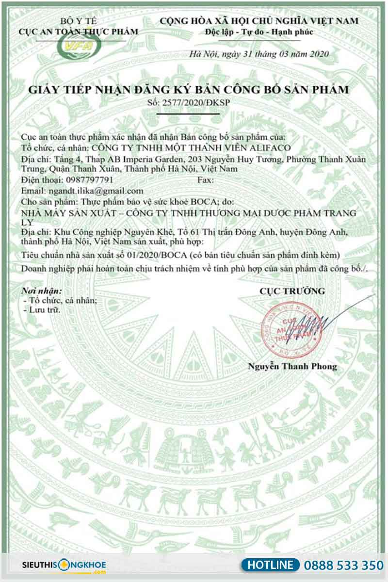 giấy chứng nhận viên sủi xương khớp boca