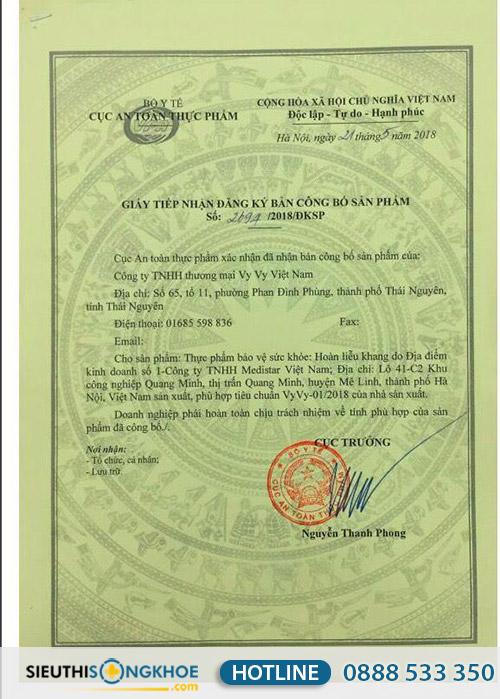 giấy chứng nhận hoàn liễu khang