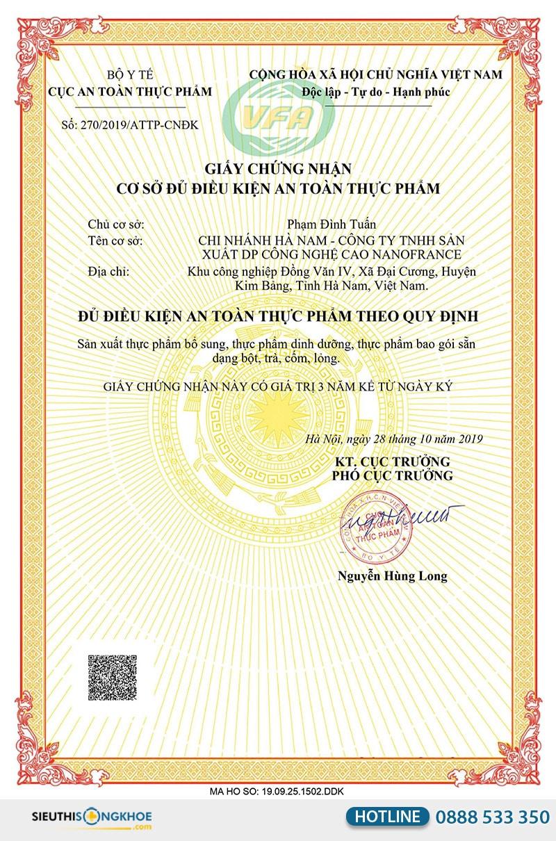 giấy chứng nhận bột cần tây sitokata