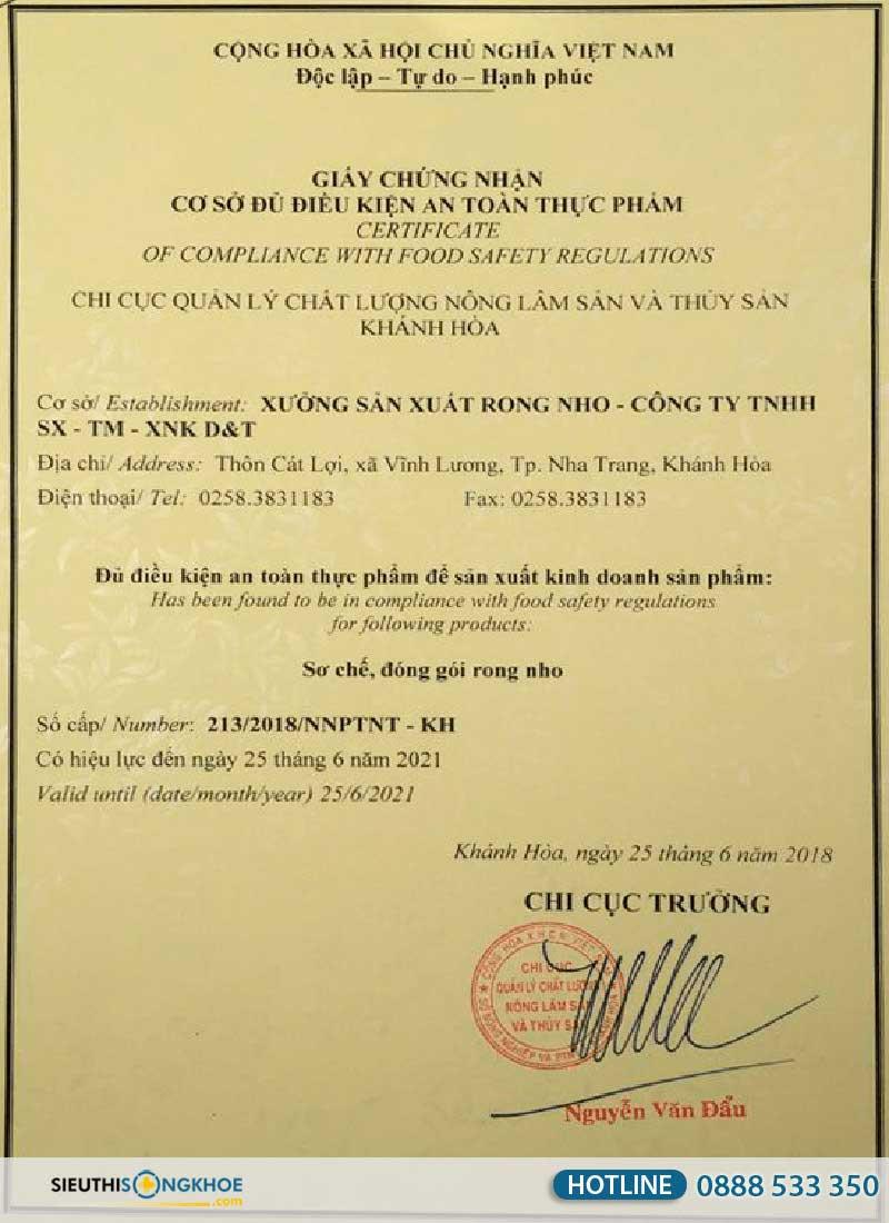 giấy chứng nhận của rong nho sabudo