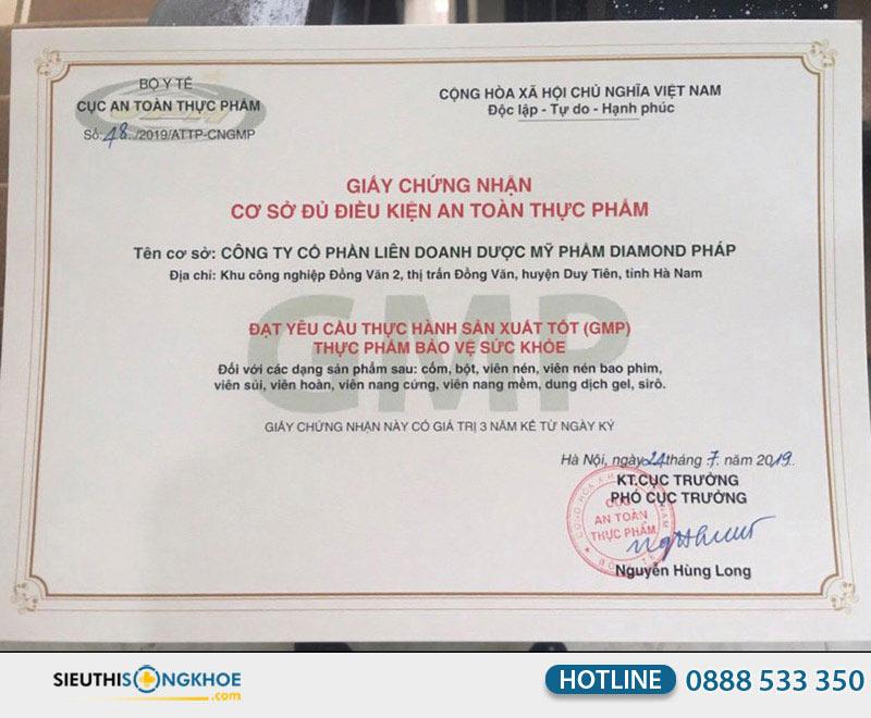giấy chứng nhận viên khớp an nhiên