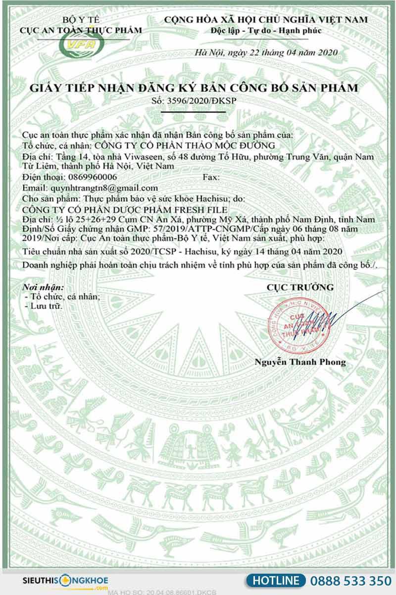 giấy chứng nhận của viên sủi hachisu