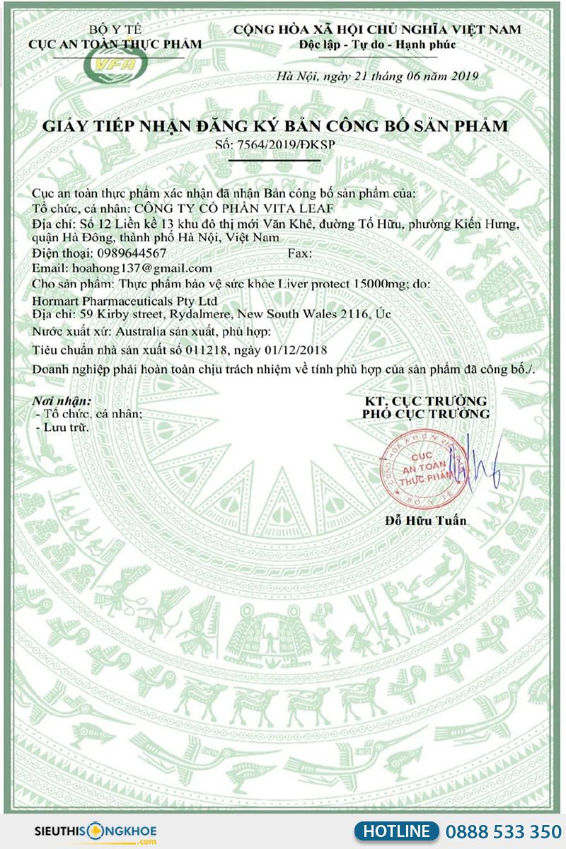 giấy chứng nhận liver protect