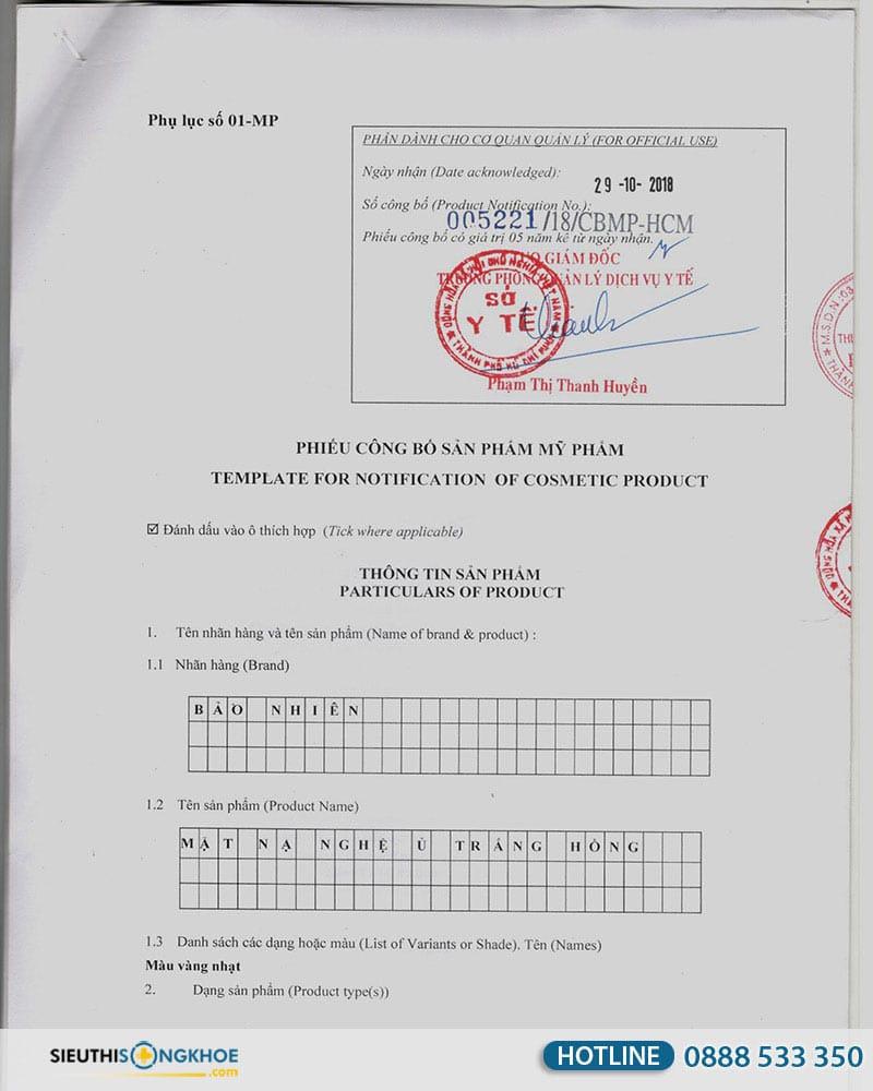giấy chứng nhận mặt nạ nghệ ủ trắng hồng