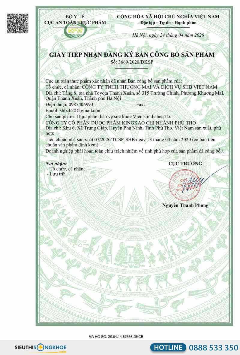 giấy chứng nhận viên sủi diabet