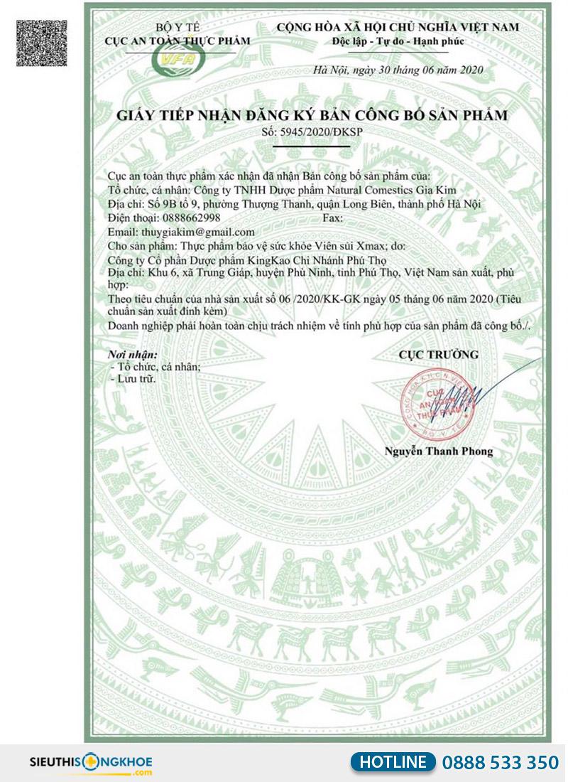 giấy chứng nhận viên sủi xmax