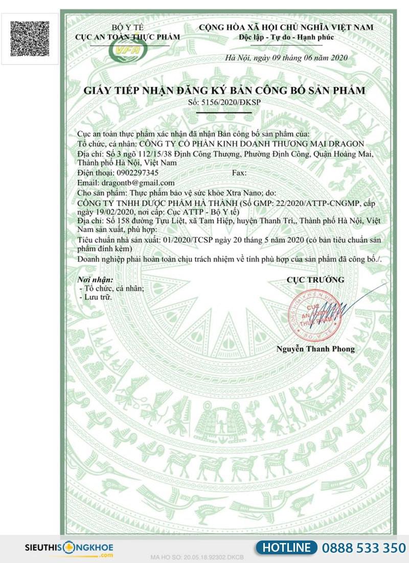 giấy chứng nhận viên sủi xtra nano