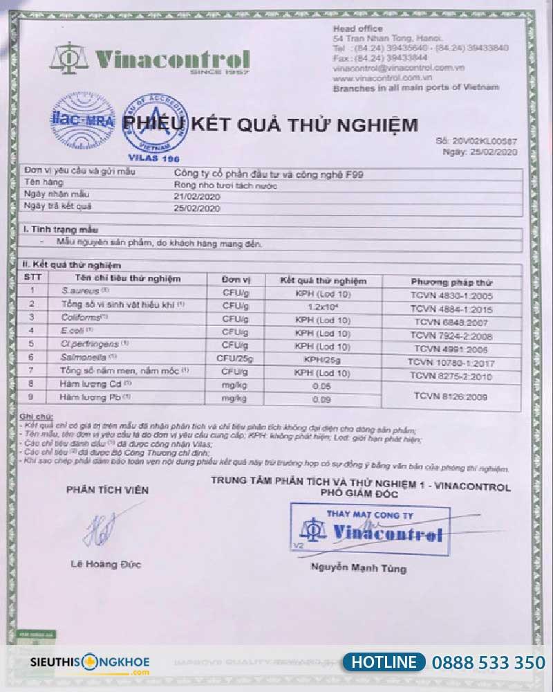 giấy xét nghiệm của rong nho sabudo