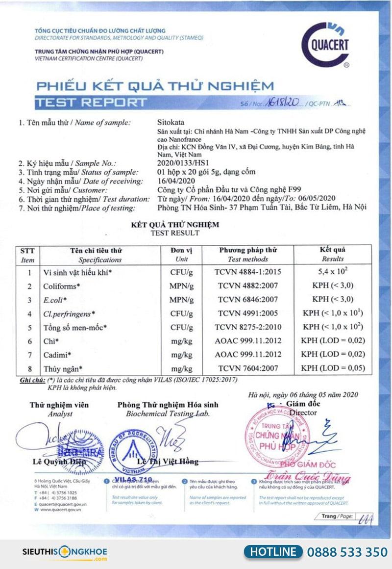 giấy xét nghiệm bột cần tây sitokata