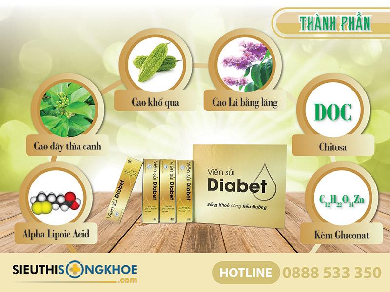 thành phần viên sủi diabet