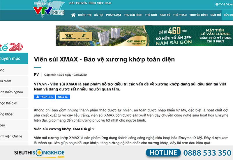 vtv đăng tin về viên sủi xmax