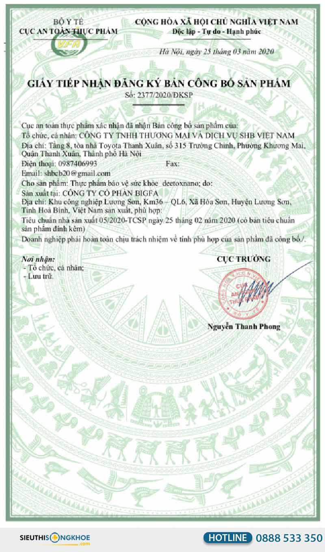 giấy chứng nhận deetox nano
