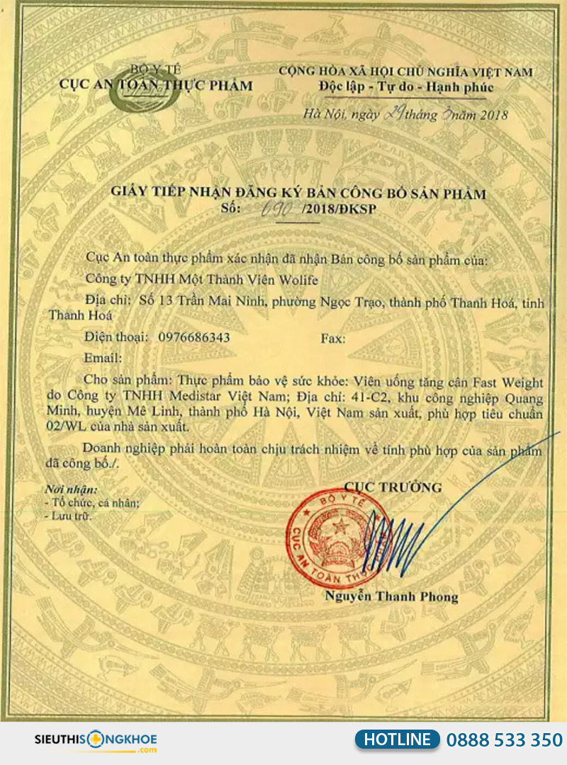 giấy chứng nhận fast weight