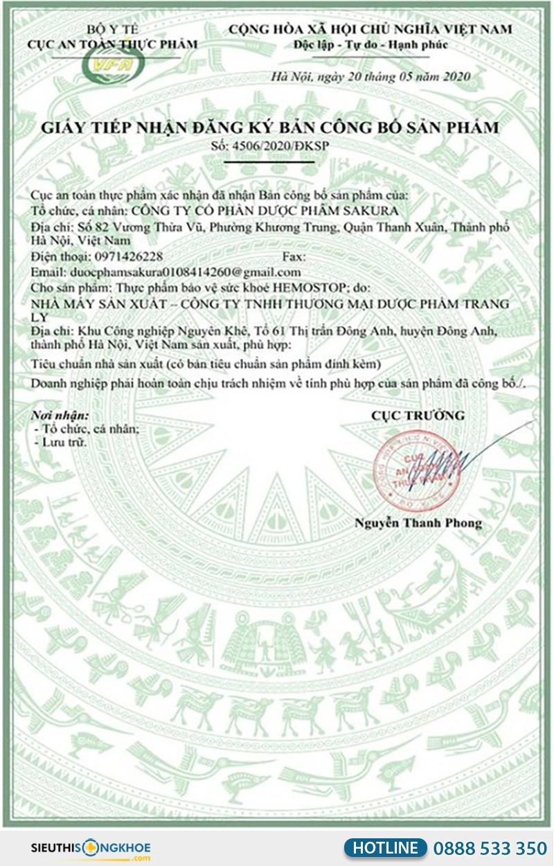 giấy chứng nhận viên sủi trĩ hemostop