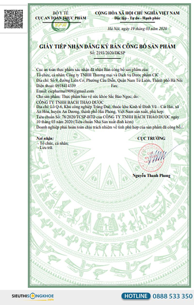 giấy chứng nhận viên uống sắc bảo ngọc