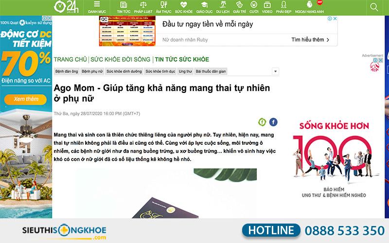 báo 24h đăng tin về viên uống ago mom