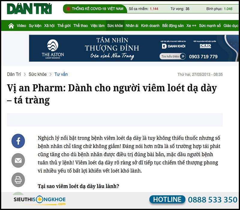 báo dân trí đăng tin viên uống vị an gpharm