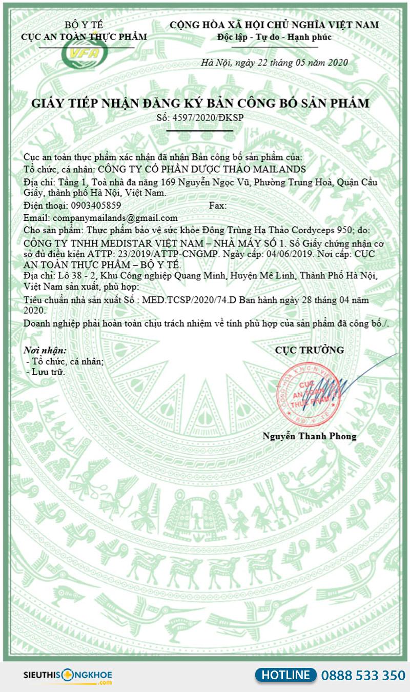 giấy chứng nhận đông trùng hạ thảo cordyceps 950