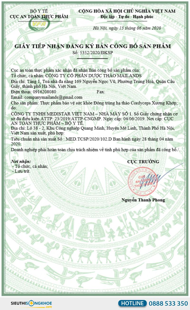 giấy chứng nhận đông trùng hạ thảo cordyceps xương khớp