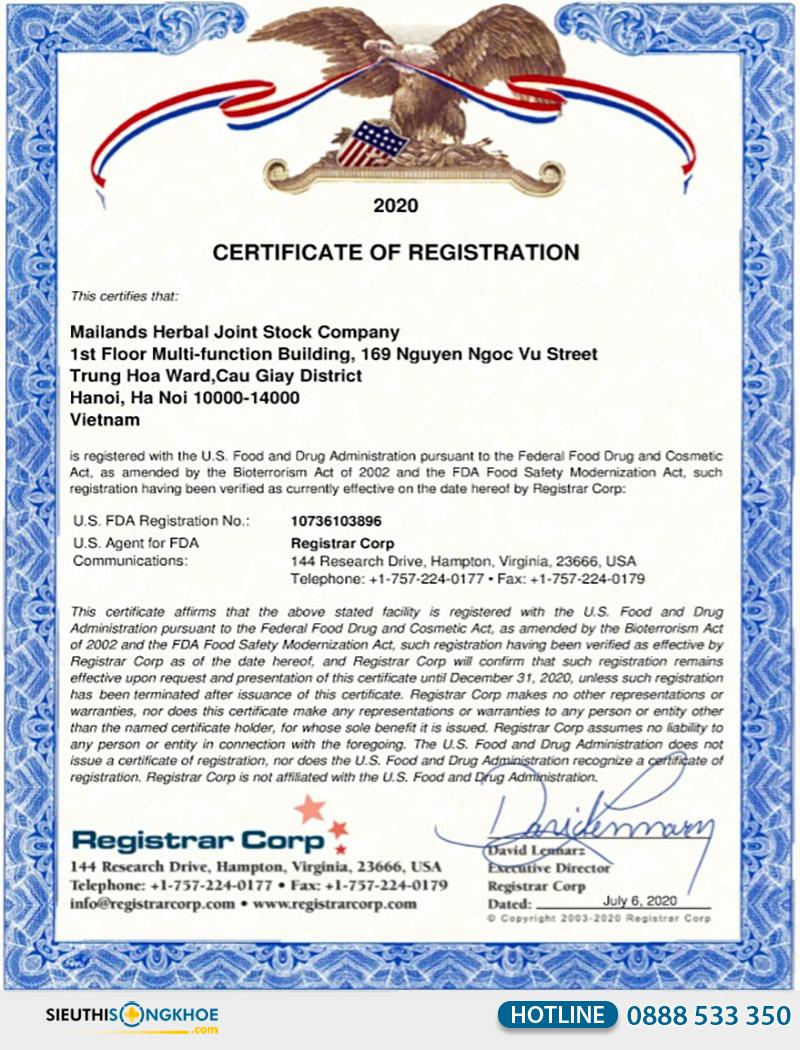 giấy chứng nhận fda đông trùng hạ thảo cordyceps 950