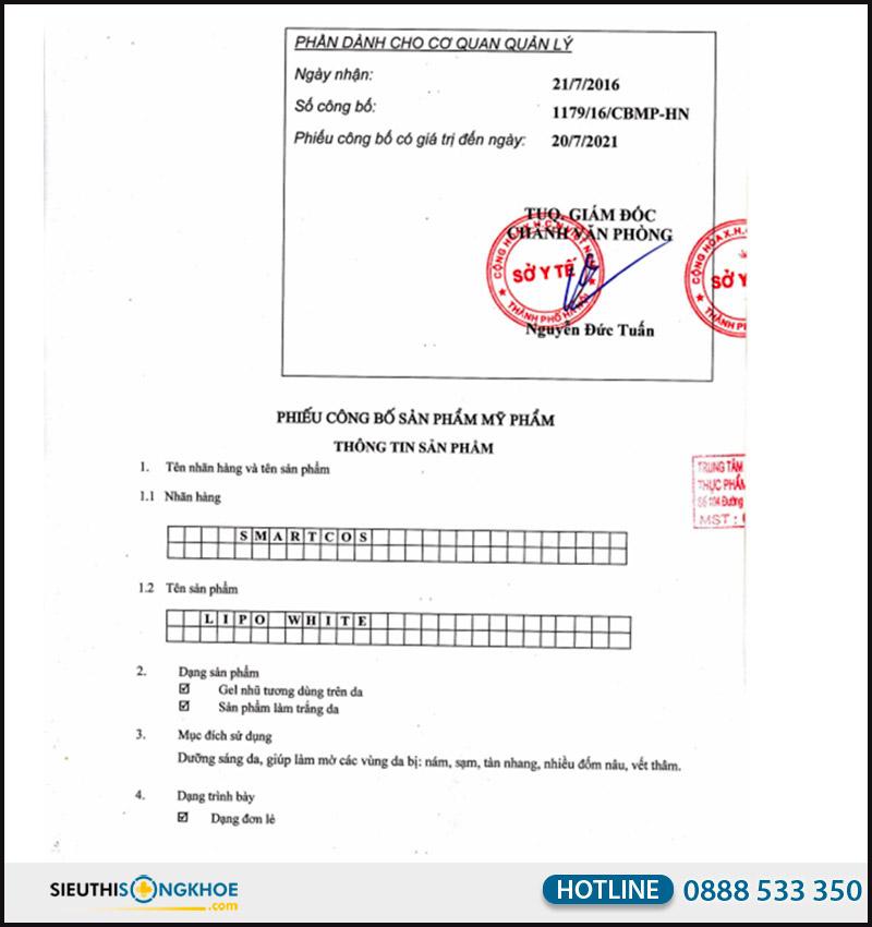 giấy chứng nhận kem trị nám lipo white hvqy