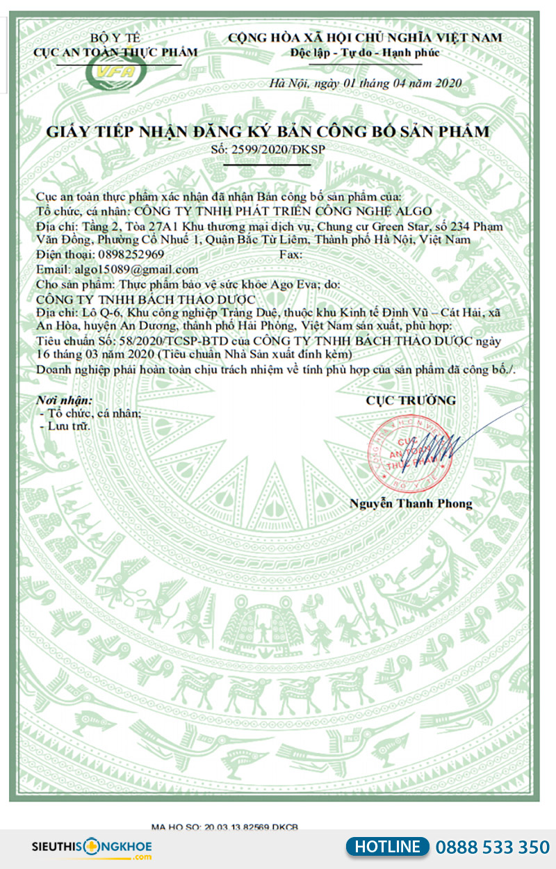 giấy chứng nhận viên uống ago eva