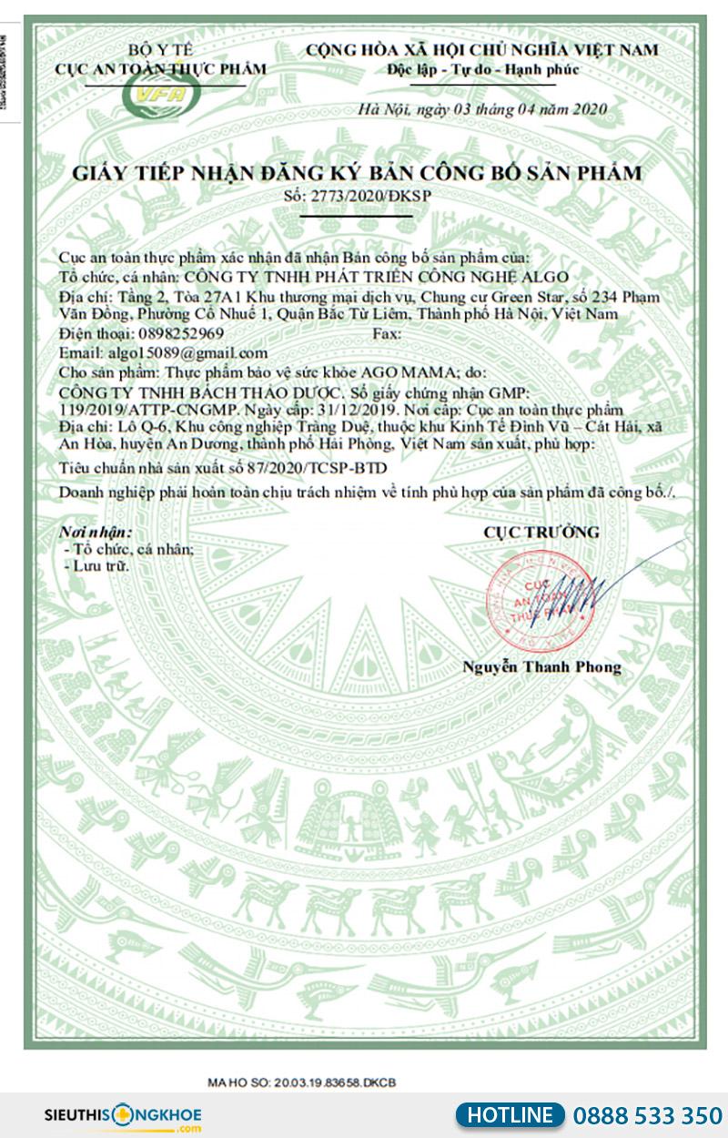 giấy chứng nhận viên uống ago mama