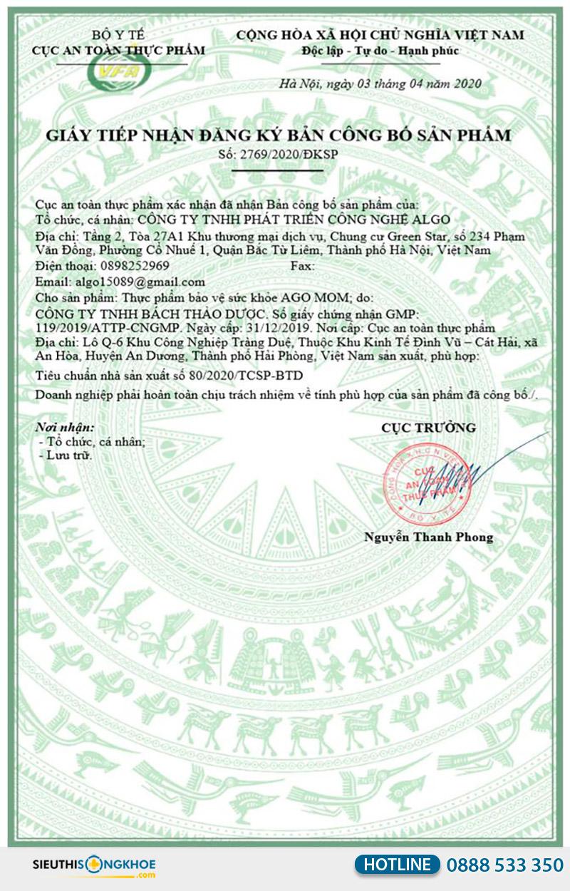 giấy chứng nhận viên uống ago mom