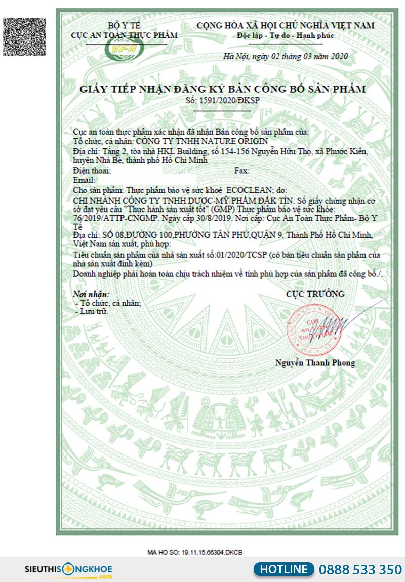 giấy chứng nhận viên uống ecoclean
