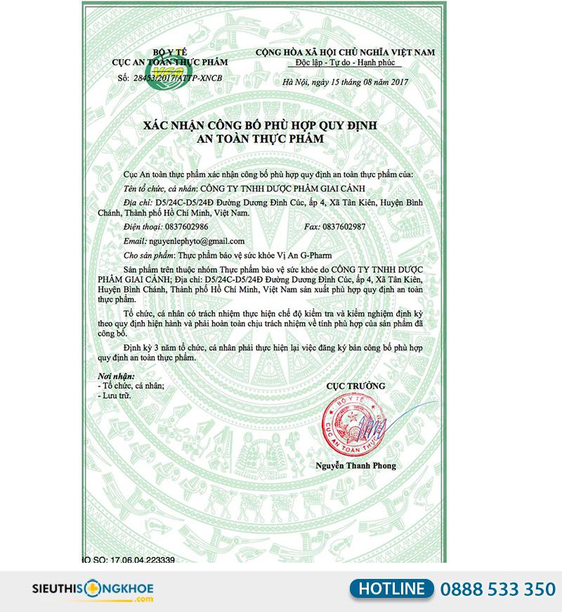 giấy chứng nhận viên uống vị an gpharm
