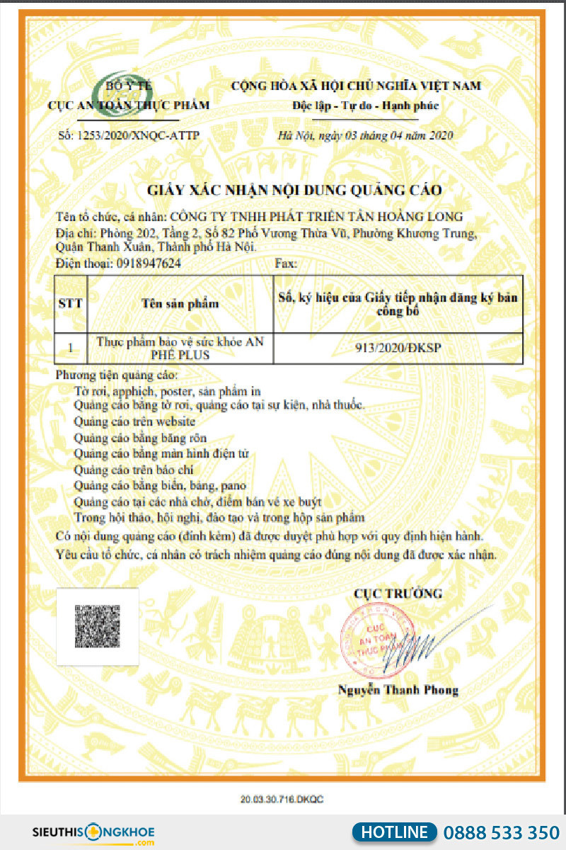 giấy xác nhận quảng cáo viên uống an phế plus