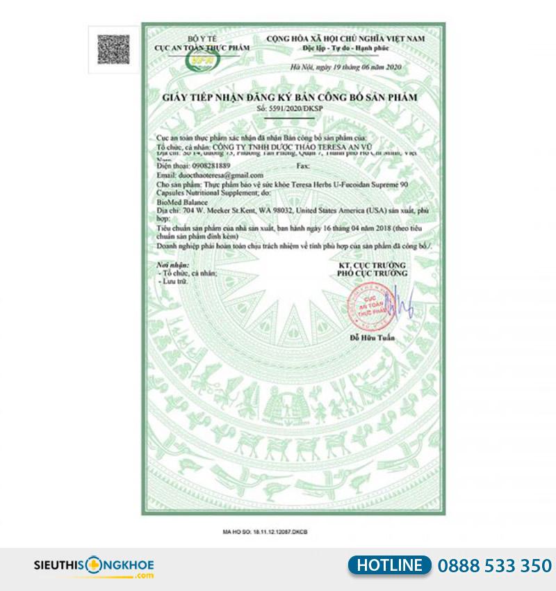giấy chứng nhận u fucoidan supreme