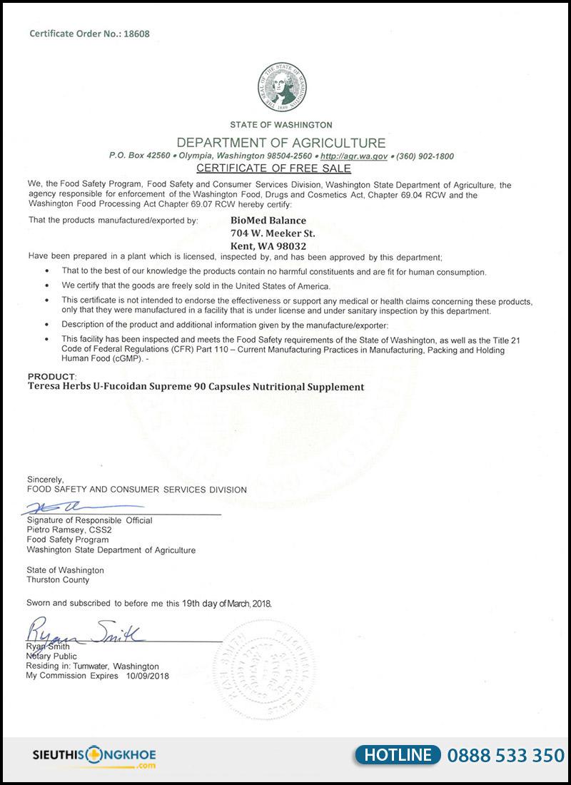giấy chứng nhận hoa kỳ u fucoidan supreme