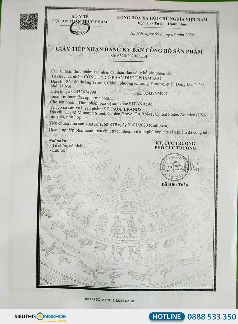 giấy chứng nhận viên uống ritana