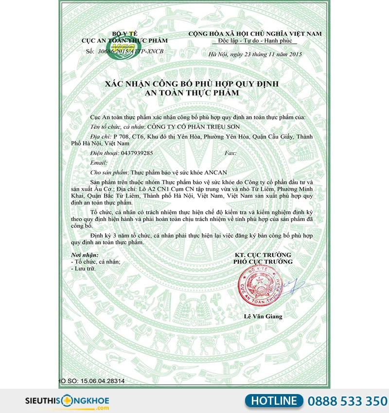 giấy chứng nhận ancan fucoidan