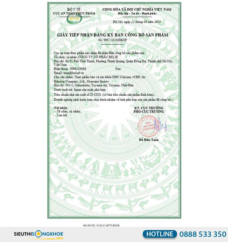 giấy chứng nhận của dhc calcium + cbp 30 days