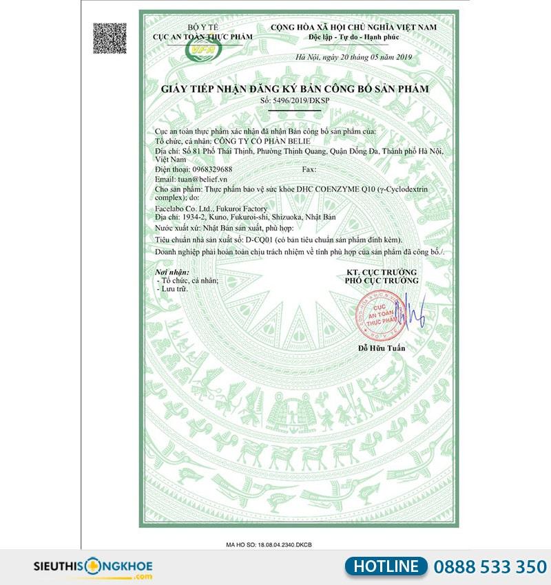 giấy chứng nhận dhc coenzyme q10