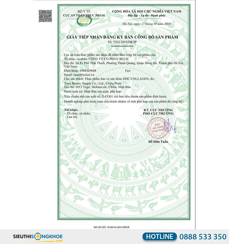 giấy chứng nhận dhc collagen 30days
