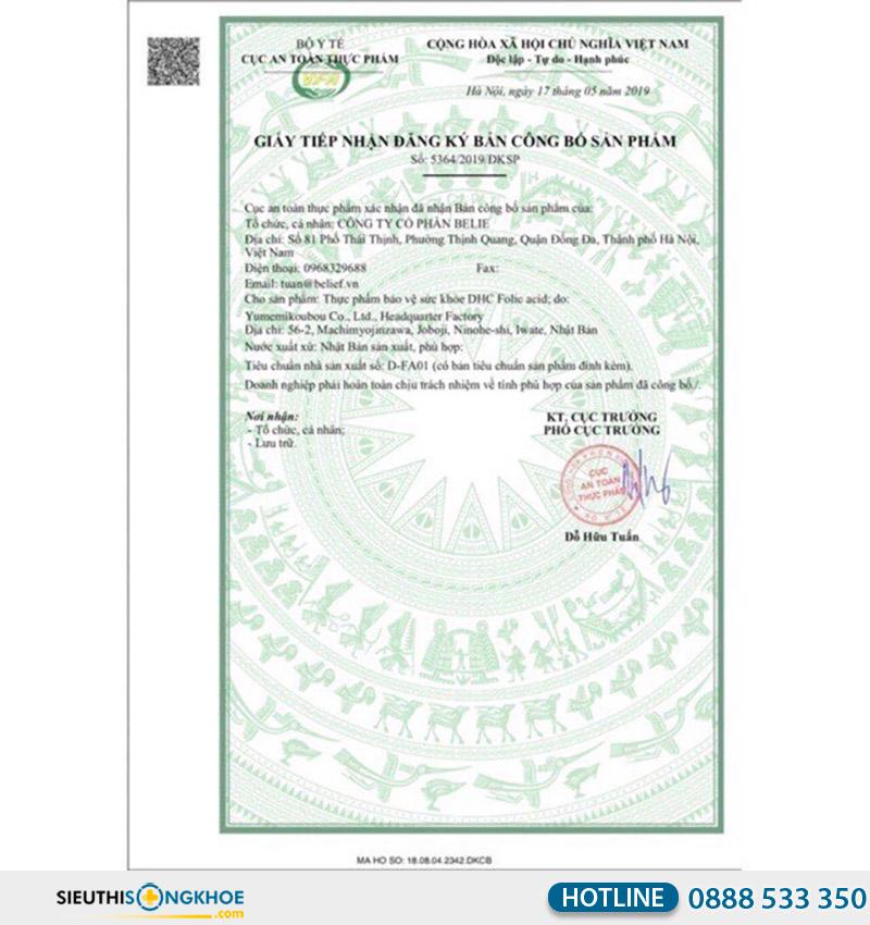 giấy chứng nhận dhc folic acid 30 days