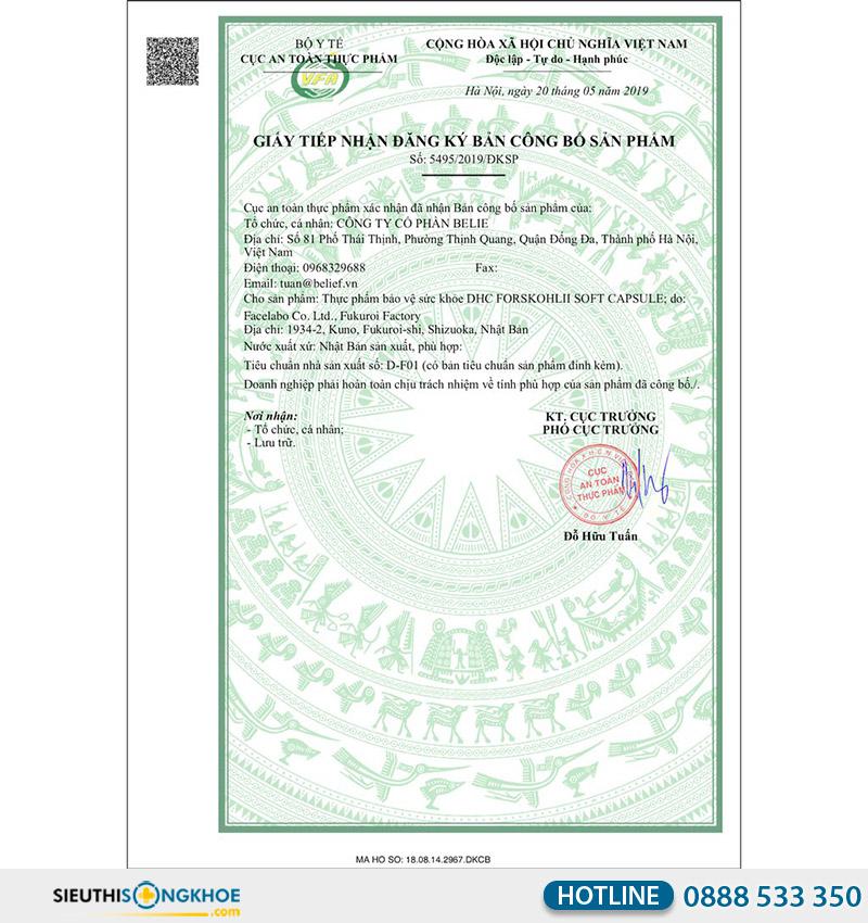 giấy chứng nhận dhc forskohlii soft capsule