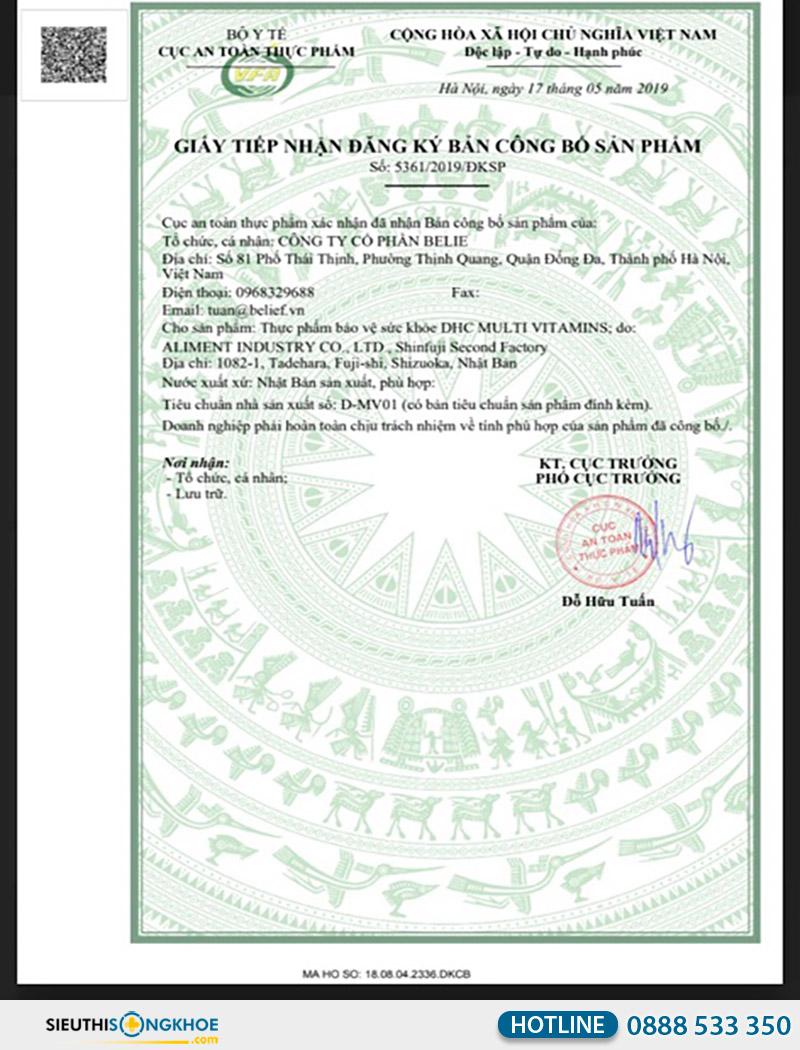 giấy chứng nhận dhc multi vitamins 15 days