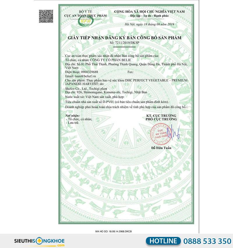 giấy chứng nhận của dhc perfect vegetable