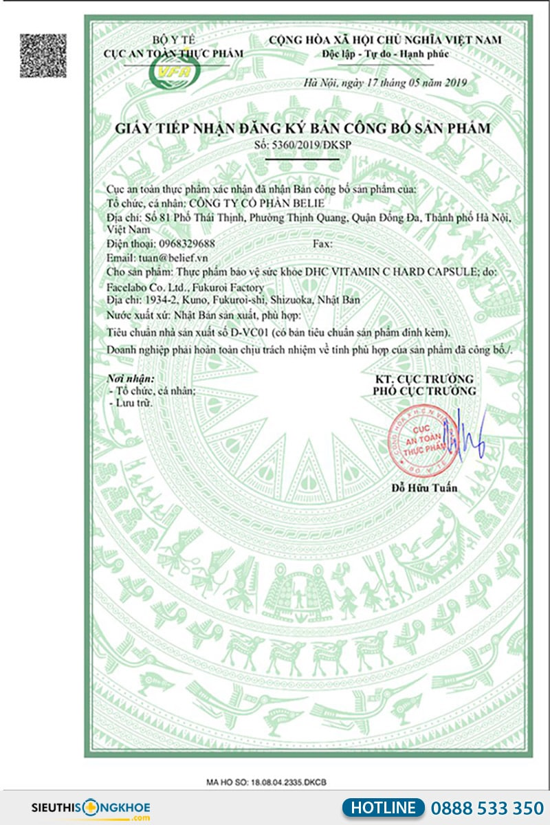 giấy chứng nhận dhc vitamin c