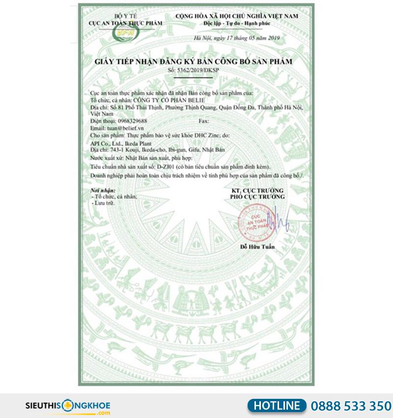 giấy chứng nhận dhc zinc